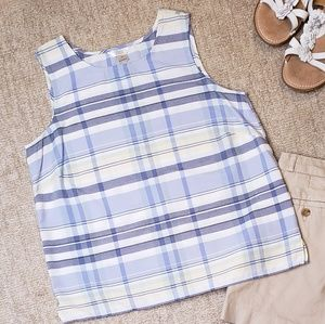 Blue Plaid Sleeveless Top Christopher & Banks